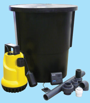 Black sump, sump pump and plumbing fittings