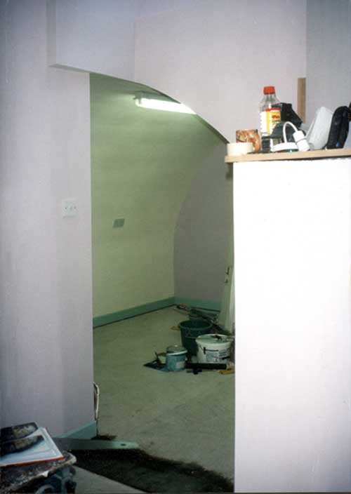 Lined and skim plastered - painted cellar after lining