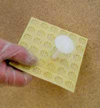 Mesh Membrane with plug, to take plaster or plasterboard on dabs of adhesive
