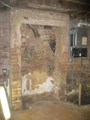 Basement conversion - kitchen wall and old chimney