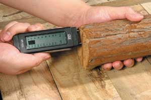 Damp Meter in use testing a piece of wood